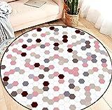 QAQV Style Kinder Runde Bodenmatte Geometrische Rosa Schlafzimmer Dekoration Teppiche Wohnzimmer Kinder Spielen Zeltstuhl rutschfeste Teppiche 1,2 m Durchmesser
