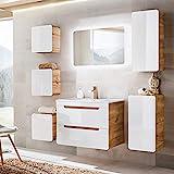 Lomadox Badezimmermöbel Set mit 80cm Waschtisch & LED-Spiegel, Hochglanz weiß mit Wotaneiche, B/H/T ca. 180/200/46cm