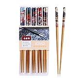 5 Paar Set Essstäbchen Japanische Natur Chopsticks aus umweltfreundlichem Bambus-Holz in edler Schatulle Geschenkbox(Cat)