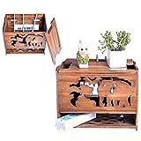 Tauzveok Kabelmanagement Box Kabelbox Groß Elefant Router Aufbewahrungsbox Holz Retro WLAN Box 32 * 21 * 25Cm Router Regal Mit Belüftun,Open The lid