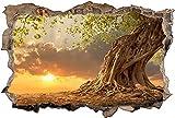 3D Gebrochen Wand Wandabziehbilder,Baum Savanne Afrika,Kinderzimmer Babyzimmer Entfernbare Wandtattoos Wandbilder 50x79