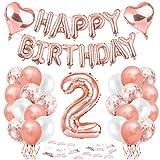 Bluelves Geburtstagsdeko 2 Jahr Mädchen,2 Geburtstag Deko,2. Geburtstag Dekoration, 2 Jahr Geburtstag mädchen, Riesen Folienballon 2 Rosegold, Ballon 2 Deko zum Geburtstag, Deko 2 Geburtstag Mädchen