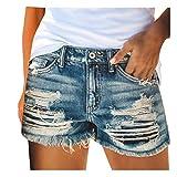 JIECHU Jeansshorts für Frauen Distressed Ripped Jean Shorts Stretchy Frayed Raw Hem Hot Short Jeans mit Taschen