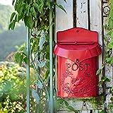 JYYX Vintage Inspiriert Shabby Post Briefkasten - An der Wand Befestigtes Design Großer Geprägter Eisenbriefkasten - Gartenhof Dekorative Post Postkasten