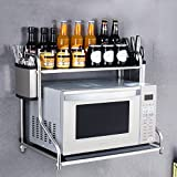 Yxsd Küchenregal Mikrowellen-Ofen-Regal Doppelstöckig Multifunktions-Edelstahl-Wandregal (Größe : 53 cm x 37 cm)