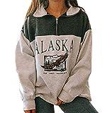 Damen-Sweatshirt Alaska, Druck, Grafik, Langarm, Hip Hop, hoher Reißverschluss., Grün S
