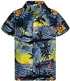 King Kameha Funky Hawaiihemd, Kurzarm, Print Surf, Grau, M