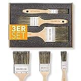 Colorflow® Lasurpinsel Set 3-teilig - Hochwertige Flachpinsel - Pinsel zum Holz streichen - Pinsel für Lasur - Pinselset Maler - Malerpinsel Set fü