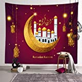 WuLi77 Ramadan Wandteppich, Eid Mubarak Wandbehang Tapestry Hintergrund Muslim Islam Dekoration