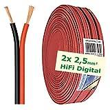 erenLINE® 20 m Lautsprecher-Kabel 2X 2,5 mm² rot/schwarz; Boxenkabel; Lautsprecher-Verlegekabel: für HiFi Anlage, Home Cinema, KFZ/Auto, Multi-Media; Meterware