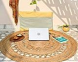 IMPEXART PVT LTD Runde Juteteppiche für Wohnzimmer 90 x 90 cm Geflochtener rustikaler Vintage-Eco-freundlicher Wende-Teppich für Wohn- und Dekorationszwecke