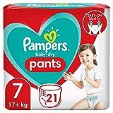 Pampers Baby-Dry Höschenwindeln 7, 21Windeln, Einfaches An- und Ausziehen, zuverlässige Pampers Trockenheit, 17kg+