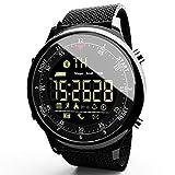 LOKMAT Sport-Digitale Smart-Armbanduhr für Damen und Herren, wasserdicht, Bluetooth, Smartwatch mit Kalorien, Fernbedienung, Anruf/SNS/SMS-Erinnerung, für iOS und Android, Herren, SS Black-Band