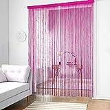 QTQHOME Quaste Tür String Vorhang,dichte Spaghetti Fransen Platten Fringe Vorhang Zimmerteiler Fly Screen Für Wohnzimmertüren Rose Red W100xh200cm