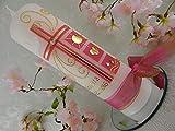 Taufkerze Kreuz pink gold mit Taufsymbolen Taufkerzen individuell für Mädchen 250/70 mm personalisiert