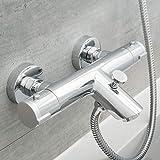SCHÜTTE 52470 LONDON Badewannenarmatur Thermostat, Wannenarmatur Wannenthermostat mit Verbrühschutz bei 38℃, Mischbatterie Wasserhahn Armatur für Badewanne, C