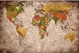 Retro Weltkarte - Wandbild Dekoration Globus Kontinente Atlas Verwendet Look Erde Geographie Retro Old School Vintage Karte Poster Wanddekoration (82,7 x 55 Zoll / 210 x 140 cm)