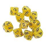 N-K PULABO Packung mit 10 Stück Zehn seitige Würfel Spielen Brettspiel gelb tragbar und nützlich Beliebt