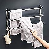 Badetuchhalter, 304 Edelstahl Wand Handtuchhalter für Badezimmer Wandmontage, 3-stufig mit Haken, Handtuchleiter Aufhänger, Nickel gebürstet (Größe : 60cm)