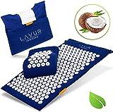 LAVUR Home & Living ® Premium Akupressurmatte - Inklusive E-Book mit Anleitung und Anti Stress Guide - Umweltfreundliche Massagematte gefüllt mit Kokosfasern - Mit Gratis Transp