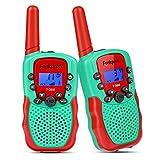 Funkprofi 2X Walkie Talkie Set für Kinder T-388 Funkgeräte 1-3KM Reichweite PMR446 8 Kanal mit Taschenlampe Geschenk für Jungen Mädchen ab 3 Jahren alt (Grün+Rot)