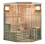Home Deluxe - Traditionelle Sauna - Skyline XL - Holz: Hemlocktanne - Maße: 150 x 150 x 210 cm - inkl. kompl. Zubehör   Dampfsauna Aufgusssauna Finnische Sauna