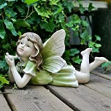 erddcbb Garten Ornament Magic Fairy Statue Outdoor Garten Engel dekorative Ornament Skulptur, grün