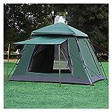 4-5 Person Automatisches Campingzelt Schnellöffnung Outdoor-Zelt 3 Saison Doppelschicht wasserdichte Familien-Partyzelt 215 * 215 * 165cm (Color : Green)