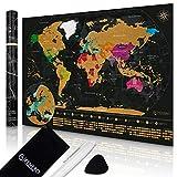 FENERO® Premium Weltkarte zum Rubbeln in Deutsch (84,1x59,4cm) – Rubbel Weltkarte aus exklusivem Kunststoff – Landkarte zum Rubbeln passgenau für A1 Rahmen – inkl. Marker, Plektrum & Täschchen