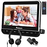 NAVISKAUTO 10,1' DVD Player für Auto Tragbarer DVD Player 1080P HD Bildschirm Kopfstütze Monitor Memory HDMI Eingang SD USB mit Kopfhörer / AC Adapter / AV Kab