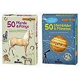 Moses. 9744 Expedition Natur 50 Pferde und Ponys| Bestimmungskarten im Set & 9740 Expedition Natur - 50 Sternbilder und Planeten| Bestimmungskarten im Set