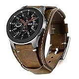 Leotop Kompatibel mit Samsung Galaxy Watch 46mm/Gear S3 Frontier/Galaxy Watch 3 45mm/Classic Armband,22mm Echtes Leder Uhrenarmband Cuff Ersatz Armbänder mit für Männer Frauen (22mm, Kaffee)