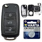 Repair Reparatur Satz Auto Schlüssel Austausch Gehäuse mit 3 Tasten + Rohling + Batterie kompatibel für VW Golf UP Polo T5 Caddy Tiguan Beetle EOS Jetta