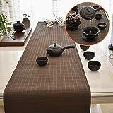 LLA Tischläufer Braune Vintage Bambus Tischläufer Matte, für Teestube Esstisch Alltag, Rechteck Tee Tischmatten im Japanischen Stil (Size : 180×40cm)