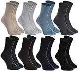 Rainbow Socks - Damen Herren Diabetiker Socken Ohne Gummibund - 8 Paar - Beige Braun Schwarz Graphit Blau Marine Khaki Blau Grau - Größen 39-41