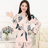 Sexy Frauen Pyjamas,Bequeme Sexy Pjs Zweiteilige Nachtwäsche Soft Set Cardigan V-Ausschnitt Frischer Kimono Japanischer Stil Blätter Drucken Rosa Nachtkleid, Home Service Anzug Geschenk Für Dam