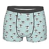 GKGYGZL Herrenunterwäsche,Süße Kätzchen mit Riesenbrille Sketch Style House Pet Muster mit Punkten,Boxershorts Atmungsaktive Komfort Unterhose Größe S