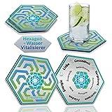 HEALANCY BIOMEDICAL Wasser Aktivierung & Belebung - 2 x Aktiv-Hexagonal Untersetzer für Trinkgläser und Wasserkaraffe. Unterstützt wirkungsvoll eine gesundheitsbewusste Lebensweise.