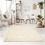 Taracarpet Handweb-Teppich Oslo Wolle im Skandinavischem Landhaus Design Wohnzimmer Esszimmer Schlafzimmer Flur Läufer beidseitig verwendbar 120x170 cm Natur