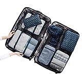 Kentop 8-teiliges Set Kleidertaschen-Set, Reiseveranstalter Taschen Set, Kompressionsbeutel Kleiderbox, Koffer Aufbewahrungstasche Verwendet für Reise Koffer Aufbewahrungstasche Anzug Kleidung Schuhe