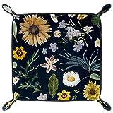 HANDIYA Würfeltablett, faltbar, PU-Leder, für Würfelspiele, Aufbewahrung zu Hause, Sonnenblume, kleine weiße Gänseblümchen, Blumenmuster, Marineb