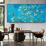 Van Gogh Berühmte Mandelblüte Gemälde Reproduktion Poster und Drucke Leinwand Kunst Blumenbild für Wohnzimmer Dekor 70x140cm rahmenlos
