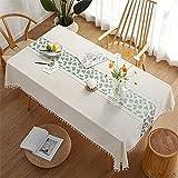 CCBAO Reine Farbe Weiß Rechteckige Polyester Quaste Tischdecke Zuhause Wohnzimmer Hotel Küchentischdecke Bedruckte Tischdecke Tischläufer Couchtisch Stoff Quadratische Tischdecke 140x220cm