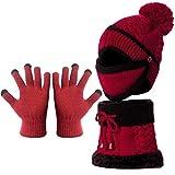 Wintermütze, Beanie-Mütze, Strickmütze, für Damen, Winter-Handschuhe mit Maske, Schal und Handschuhen für Skifahren, Snowboard, Laufen, Klettern, Jagd, Outdoor-Sport (rot)