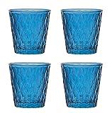 Rudolph Keramik 4er Set Lux Teelichtglas 7,5 x 7,5 cm, blau, Kerzenglas, Dekoration, Teelichthalter mit Reliefstruktur Raute