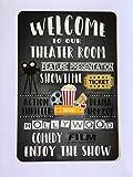 Lustiges Schild für Theaterzimmer, Heimkino, Willkommensfilm, Metallschild für Garder, Garage, Straßenschild