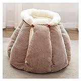LHQ-HQ Weiches Katzenhaus Katzen- und Hundebett Schlafsofa mit abnehmbarem Kissen Waschbares warmes Haustierbett in Brötchenform mit rutschfestem Boden,Braun