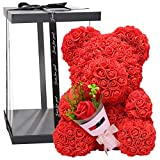 Blumenbär mit Herz | Rosenblumenbär 38cm | PE Schaum Simulierte Rose Bär Puppe | Künstlicher Rose Teddybärfür Valentinstag Geburtstag Jahrestag Infinity Rosebear