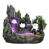Indoor-Tischwasserbrunnen Kreative Indoor Desktop Brunnen Wasserfall Harz Steingarten Brunnen Set Zerstäuber Rotierenden Ball Beleuchtung Zubehör Wohnzimmer Büro Zen Meditation Wasserfalldekoration