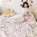 AZSOGOOD Kinderbaumwollsommer-Steppdecke, Klimatisierungsdecke 100% Baumwolle Bettwäsche, dünne Quilt Single und Double Children's Summer Steppdecke-B_200.230 cm * 1.